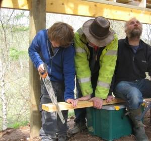 Leo sawing floor joists